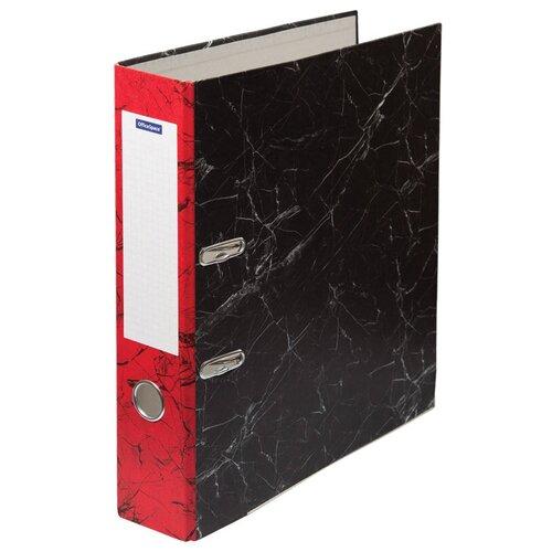 OfficeSpace Папка-регистратор с металлической окантовкой A4, мрамор, 70 мм красный/черный