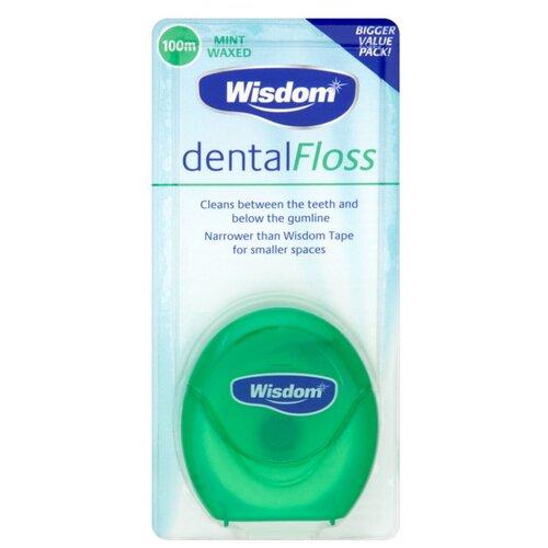 Купить Wisdom зубная нить Dental Floss вощеная мятная 100 м