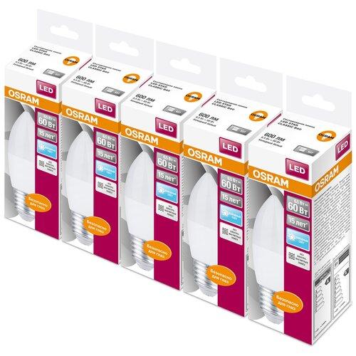 Фото - Упаковка светодиодных ламп 5 шт OSRAM Led Star Classic B 60 840, E27, 6.5Вт упаковка светодиодных ламп 5 шт osram led star classic b 75 830 e27 8вт