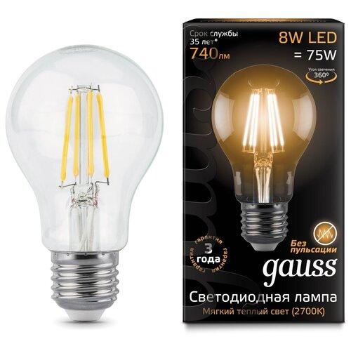 Лампа светодиодная gauss 102802108, E27, A60, 8Вт лампа светодиодная gauss 102802108 e27 a60 8вт