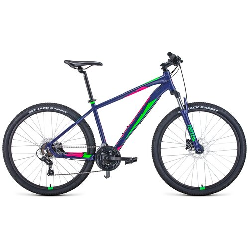 """Горный (MTB) велосипед FORWARD Apache 27.5 3.2 Disc (2021) фиолетовый/зеленый 19"""" (требует финальной сборки)"""