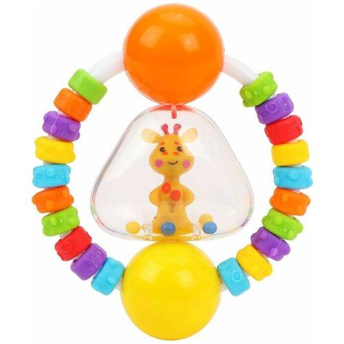 Прорезыватель-погремушка Жирафики Радужный жирафик 939633 желтый/оранжевый недорого