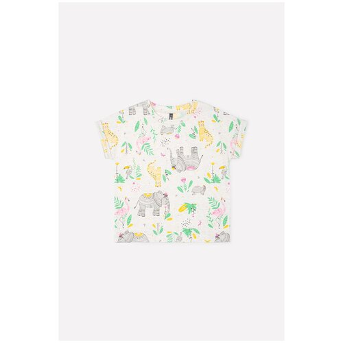 Фото - Футболка crockid, размер 122, светло-бежевый меланж/слоники футболка crockid размер 122 леденец