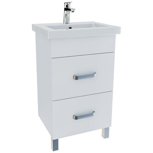 Тумба для ванной комнаты с раковиной IDDIS New Custo 50, ШхГхВ: 45.5х37.9х81 см, цвет: белый тумба для ванной комнаты с раковиной iddis cloud шхгхв 100 3х45 5х50 см цвет белый