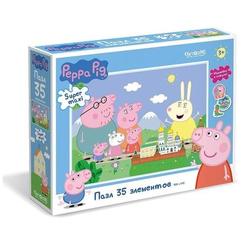 Пазл Origami Свинка Пеппа Путешествие + наклейки (04296), 35 дет.
