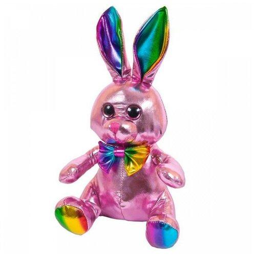 Купить Мягкая игрушка ABtoys Металлик Кролик розовый 16 см, Мягкие игрушки