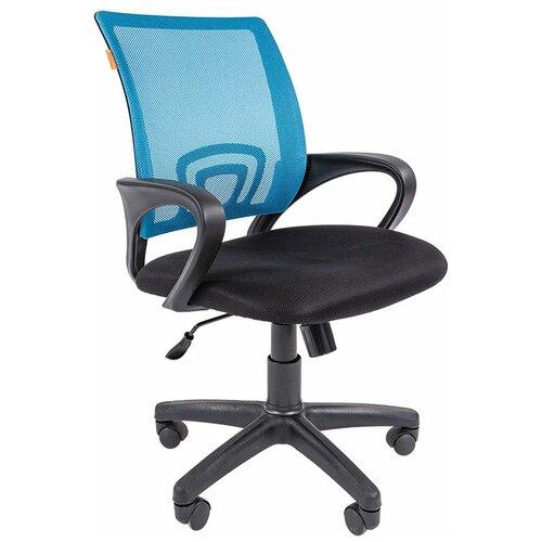 Компьютерное кресло Chairman 696 офисное, обивка: текстиль, цвет: черный/голубой недорого