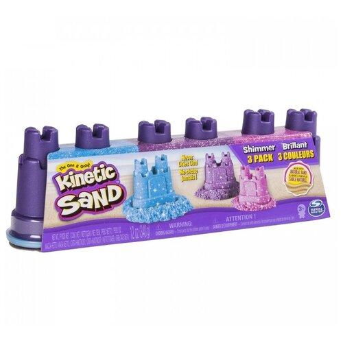 Кинетический песок Kinetic Sand с блестками, 3 цвета