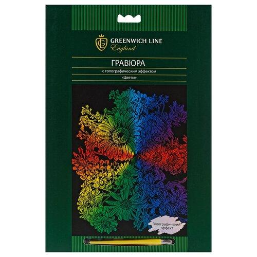 Купить Гравюра Greenwich Line Цветы EA_22577 цветная основа с голографическим эффектом, Гравюры