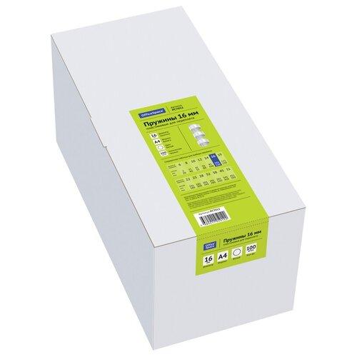 Фото - Пружина OfficeSpace пластиковые 16 мм белый 100 шт. пружина officespace пластиковые 22 мм белый 50 шт
