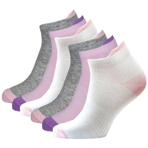 Носки спортивные женские короткие HOSIERY 72815 р 23-25 (36-39 размер ноги) бело-розовые 6 пар