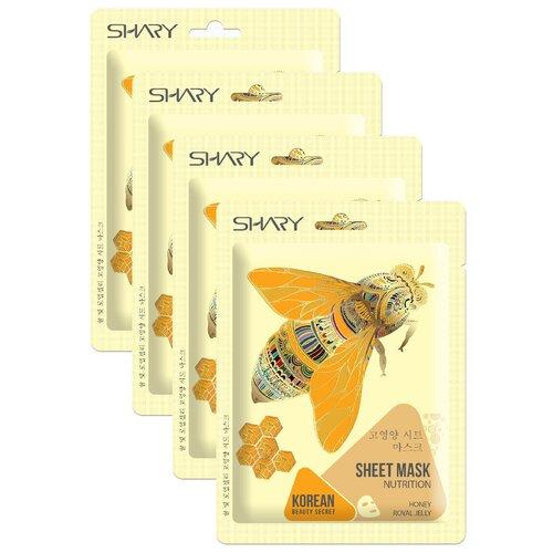 Shary тканевая маска-питание Мёд и Маточное молочко, 25 г, 4 шт. shary омолаживающая тканевая маска муцин улитки и центелла азиатская 25 г 4 шт