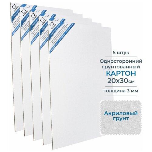 Купить Набор картон грунтованный односторонний, 20х30 см, 5 шт, Малевичъ, Холсты