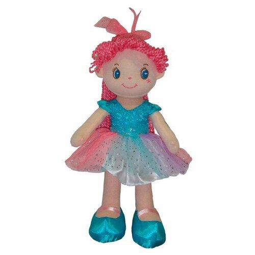 Мягкая игрушка ABtoys Кукла с розовыми волосами в голубой пачке 20 см