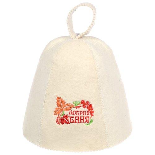 Фото - Банные штучки Шапка для бани Добрая баня белый шапка банная банные штучки добрая баня войлок 100