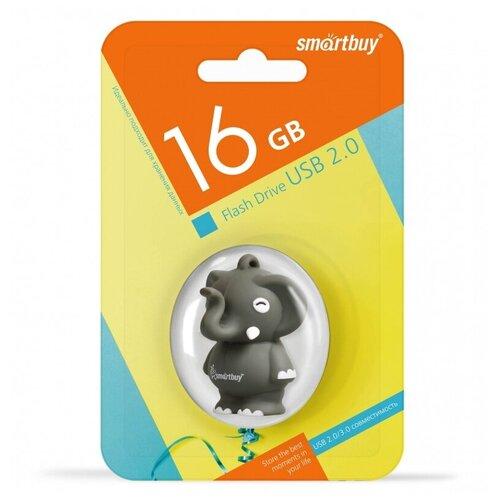 Фото - Флешка SmartBuy Wild Series Elephant 16 GB, 1 шт., серый флешка smartbuy wild series cow 16gb 16 гб белый