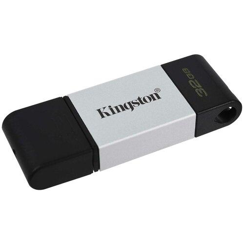 Фото - Флешка Kingston DataTraveler 80 32 GB, черный/серебристый флешка kingston datatraveler 106 64 gb черный красный