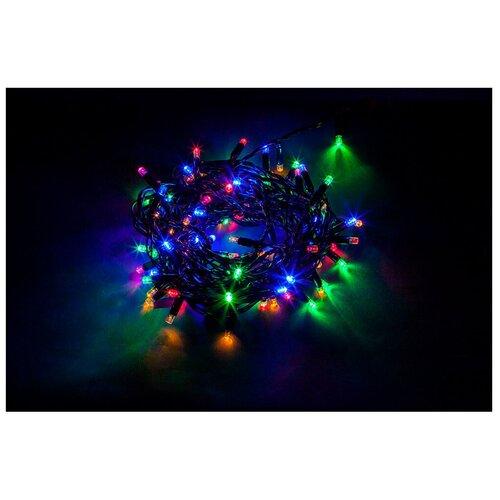 Гирлянда Feron Нить CL34 1000 см, 100 ламп, разноцветный/черный провод гирлянда feron нить cl34 1000 см 100 ламп теплый белый черный провод