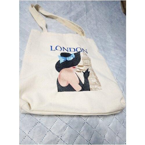 Сумка-шоппер с вышивкой Лондон
