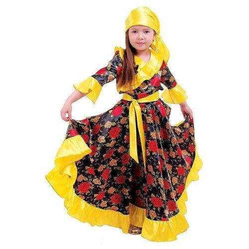 Купить Карнавальный костюм Страна Карнавалия Цыганский, для девочки, желтый, с оборкой по груди, размер 32, рост 122 см, Карнавальные костюмы