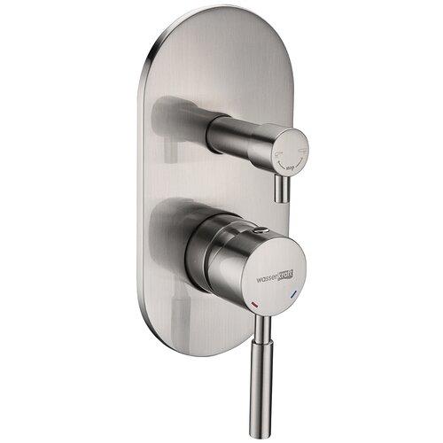 Смеситель для ванны с подключением душа WasserKRAFT Wern 4241 однорычажный встраиваемый сере6ристый смеситель для ванны с подключением душа wasserkraft elbe 7441 однорычажный встраиваемый