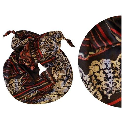 Двойной шарф-долька Оланж Ассорти серия Апрель с узелками черный dolka-шелк-z-141
