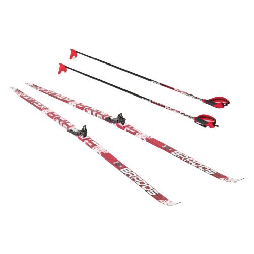Фото - Беговые лыжи STC Bravos Step XT Tour с креплениями, с палками red 205 см беговые лыжи stc step kid combi черный белый желтый 110 см