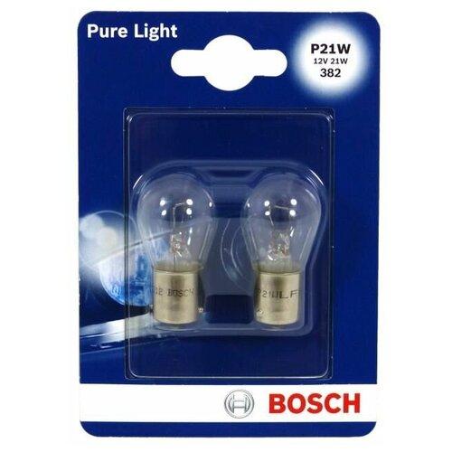 Фото - Лампа автомобильная накаливания Bosch Pure Light 1987301017 P21W 12V 21W 2 шт. лампа автомобильная накаливания bosch pure light 1987301017 p21w 12v 21w 2 шт
