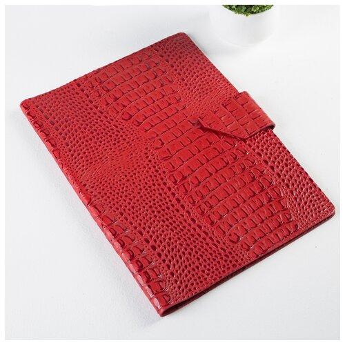 Папка д/документов, 2 компл, д/карт, на кнопке, крокодил красный 4544458