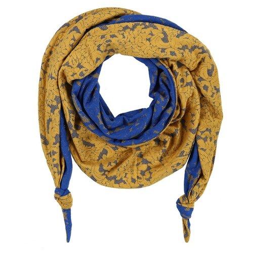 Шарф женский весенний, искусственные волокна, полиэстер, жёлтый, синий, двойной комбинированный шарф-долька Оланж Ассорти с узелками серия Хорошие гены