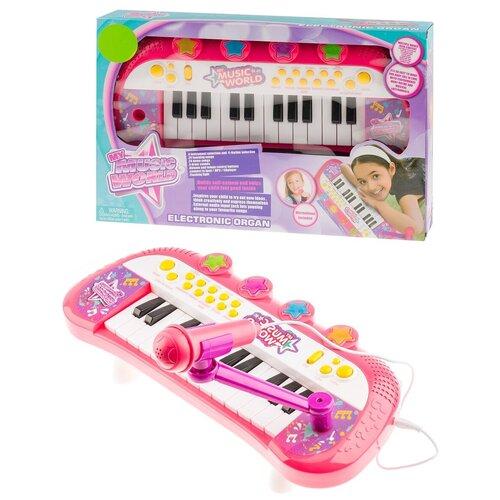 Синтезатор для девочек с подключением МР3,световые,звуковые эффекты,мелодии,моно,соло,демо,подставка,МР3