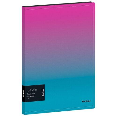 Berlingo Папка с 10 вкладышами Radiance А4, пластик розовый/голубой градиент