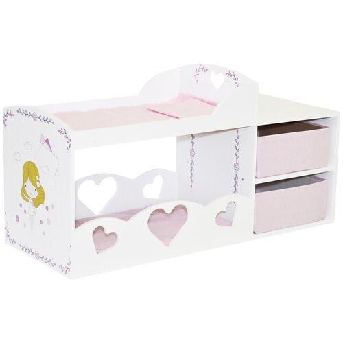 Купить PAREMO Кроватка для кукол двухъярусная с системой хранения Пьемонт Адриана Мини (PRT320-01M) белый/розовый, Мебель для кукол