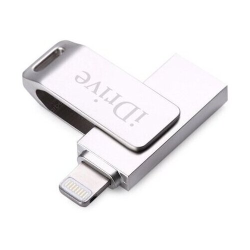 Металлическая флешка для Apple iPhone 128GB / USB флешка для телефона Эппл Айфон и планшета Айпад 128 ГБ / Дополнительная память для Айфона / Лайтнинг флешка для iPad