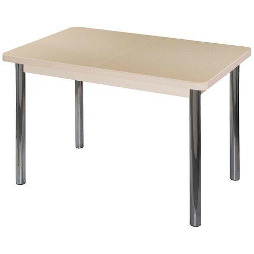 Стол кухонный Домотека Румба ПР-1 КМ 02, раскладной, ДхШ: 120 х 80 см, длина в разложенном виде: 157 см, 06/МД бежевый/молочный дуб 02 хром