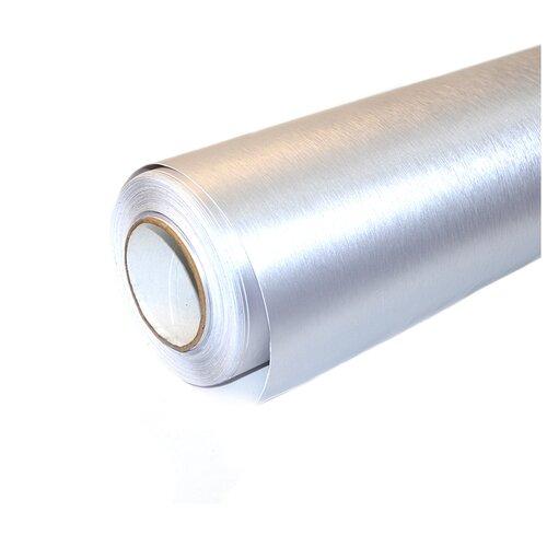 Пленка виниловая для оклейки кузова авто, матовый шлифованный алюминий - 60*152 см, цвет: серебро