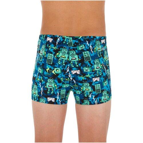 Купить Плавки-боксеры для мальчиков зелено-синие FITIB ALL ROBOT, размер: 123-130 CM 7-8, цвет: Черный NABAIJI Х Декатлон, Decathlon, Белье и пляжная мода