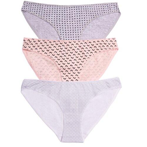 Vis-a-Vis Набор трусов бикини классика низкой посадки, 3 шт., размер XL, pink/white/m.l.grey