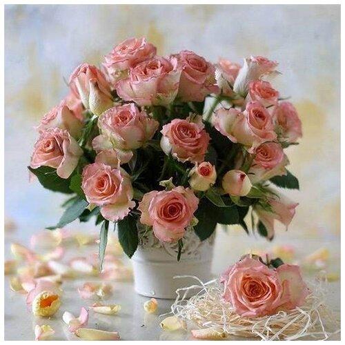 Купить Алмазная вышивка Яркие Грани Букет роз , размер 50х50см (200х200 кристаллов), 56 цветов