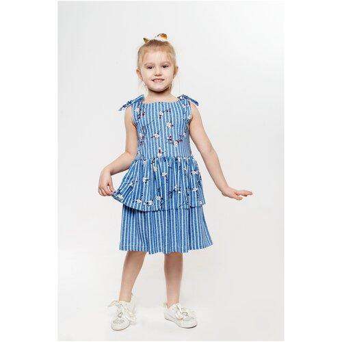 Платье 5+ Яна, 104 р., голубой, белый