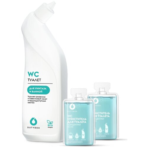 DUTYBOX Сет очистителя для туалета и ванной WC капсула концентрат 2 шт + бутылка, 3 шт.