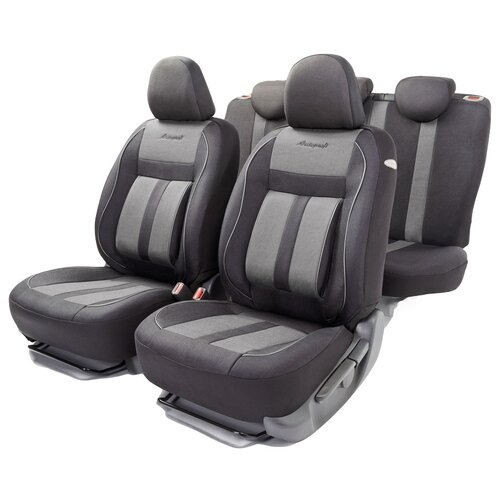 Авточехлы универсальные AUTOPROFI CUS-1505 BK/GY CUSHION COMFORT, эко-хлопок, 5 мм поролон, 3D крой, поясничный упор, 15 пред., чёрный/серый