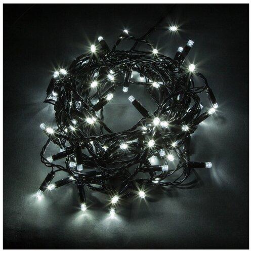 Гирлянда Feron Нить CL33 1000 см (статичная), 100 ламп, холодный белый/черный провод гирлянда feron нить cl34 1000 см 100 ламп теплый белый черный провод