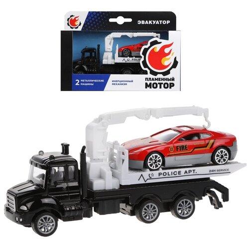 Фото - Эвакуатор инерционный Пламенный мотор металлическая кабина, металлическая мини машина, черный (870538) эвакуатор пламенный мотор 870364 13 см белый