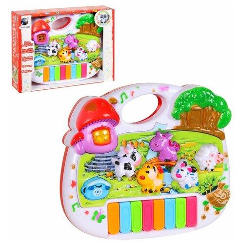 Развивающая игрушка для детей Пианино, на батарейках, обучающая игрушка, музыкальная игрушка для малышей, учим мелодии,названия животных, решение уравнений, свет, звук, в/к 21*16*5 см