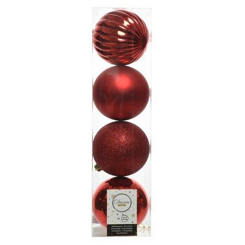 Фото - Набор пластиковых шаров новогодняя гармония, красный, 100 мм, упаковка, 4 шт., Kaemingk 021012 набор пластиковых шаров new year mix красный бордовый 60 мм упаковка 12 шт kaemingk 023573
