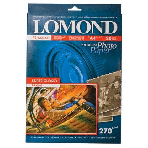 Фото - Фотобумага Lomond A4 270g/m2 Super Glossy глянцевая односторонняя 20 листов 1106100 фотобумага lomond a3 230g m2 глянцевая односторонняя 50 лист