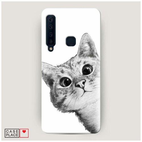 Чехол Пластиковый Samsung Galaxy A9 2018 Кот рисунок черно-белый