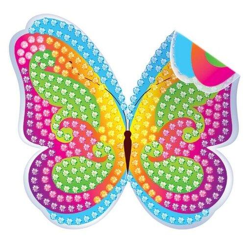 Фото - Алмазная вышивка - наклейка Бабочка для детей + емкость, стержень с клеевой подушечкой 3572058 алмазная мозаика для детей котик емкость стержень с клеевой подушечкой