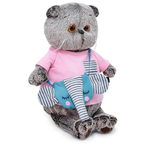 Мягкая игрушка Basic&Co Басик в футболке и с сумочкой - слоник 19 см